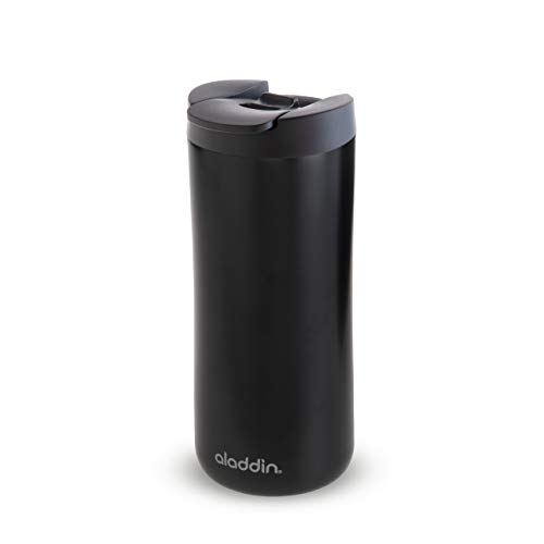 Aladdin Leak-Lock Thermavac Stainless Steel Travel Mug 0.35L Matt Black – Auslaufsicherer Thermobecher - Doppelwandige Vakuumisolierung - Hält 3 Stunden Heiß - BPA-Frei - Spülmaschinenfest