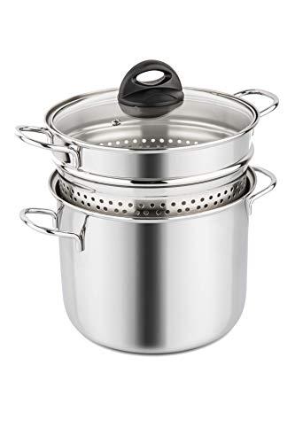 Barazzoni 419048022Pasta-Topf, Kochen und Zusehen, Spaghetti-Topf, Deckel mit Korb, Made in Italy, Glas Edelstahl 18/10, 6Liter
