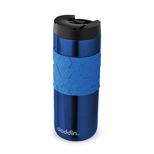 Aladdin Easy-Grip Leak-Lock Technology Mug 0.47L Blau – Auslaufsicherer Deckel - Edelstahlbecher mit Doppelwandiger Vakuumisolierung - Hält 4 Stunden Heiß - BPA-Frei - Spülmaschinenfest