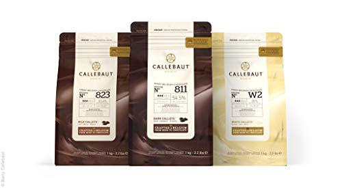 CALLEBAUT Receipe No. 811, 823 und W2, Kuvertüre Callets, Zartbitterschokolade, Milchschokolade und weiße Schokolade, 1kg - 3er Pack