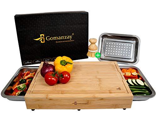 GOMANZAY® | Premium Schneidebrett mit 2 Auffangschalen und 1 Abtropfschale | XXL Bambus Schneidebrett mit Safttrille | Holzbrett mit 3 Schalen | inkl. Bürste & Geschenkverpackung