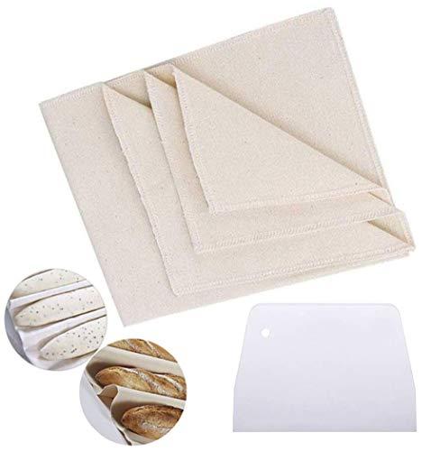 Gastrodock Bäckerleinen Teigtuch Größe 36 x45cm - Teigtuch aus unbehandelten Natur Baumwolle und Leinen - Baumwollleinen zum Backen,mit 1 Teigschaber