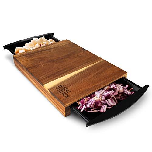 GreatKitchen,Schneidebrett mit Auffangschalen 34x26x4cm Hochwertiges Akazienholz, Anti-Rutsch Füße | Chopping Board für Zeiteffizientes Kochen&Schneiden