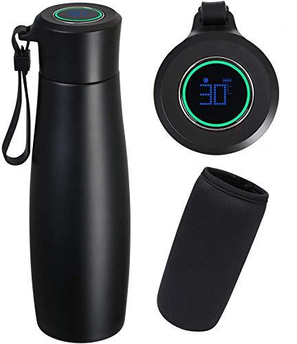 Flintronic Isolierte Edelstahl Trinkflasche, Wiederaufladbarer Deckel, BPA Frei Wasserflasche Auslaufsicher mit LCD Temperaturanzeige(1 * USB Kabel & Flaschentasche Enthalten)- Schwarz