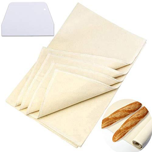Bäckerleinen teigtuch, Leinentuch Backen,Premium Bäckerleinen, aus 100% unbehandelten Natur Leinen, Leinentuch zum Backen, mit 1 Teigschaber.(45x36cm)