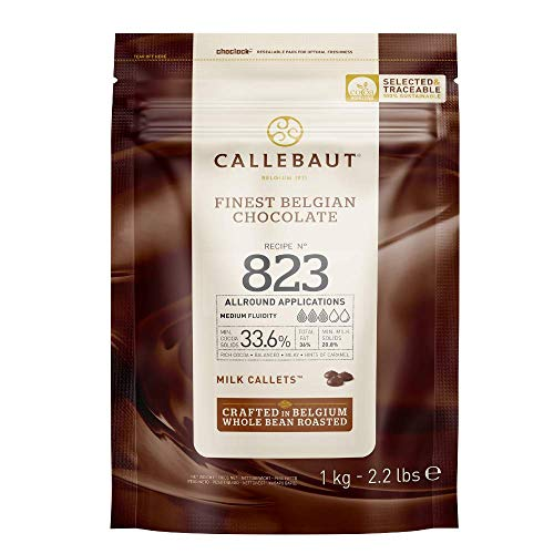CALLEBAUT Receipe No. 823 - Kuvertüre Callets, Vollmich Schokolade, 33,6 % Kakao (1000 GR)