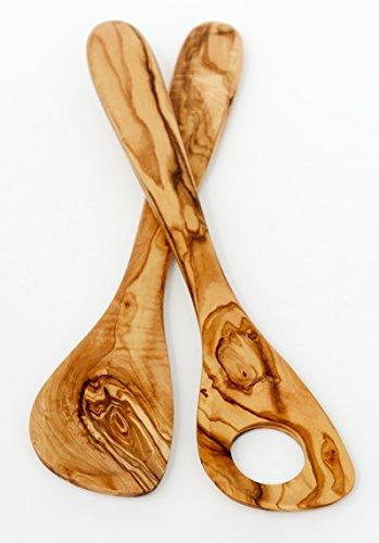 Figura Santa Set Olivenholzlöffel Profi & Risotto. Holzlöffel - Kochlöffel - Risottolöffel. Fein gemasertes Olivenholz. Länge 30 cm. 2er Set. Original Qualität!