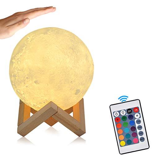15cm LED Mond Lampe mit Fernbedienung Farbige Dekoleuchte 3D Mond Kunst LED RGB Mondlicht tragbares Nachtlicht mit Schlagschalter eingebaute Batterie dimmbar, 16 Lichtfarben wechsel, PLA PVC Material