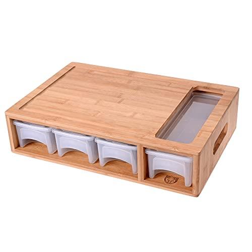GRÄWE Bambus Schneidebrett groß, 40,5 x 27 cm, Holzbrett für Rechtshänder, Küchenbrett mit Auffangschalen, klingenschonend, rechteckig