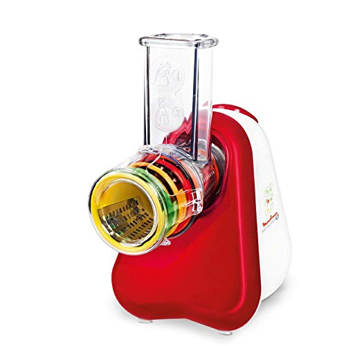Moulinex DJ756G Fresh Express Plus | Elektrisches Schnitzelwerk | Gemüseschneider | Gemüsehobel | 5 Einsätze inkl. Reiben | 200W | Rot/Weiß