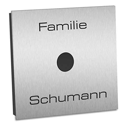 Funkklingel Haustüre Edelstahl SUPER FLACH 120x120x8mm Funk Haustürklingel mit 400m Reichweite und 52...