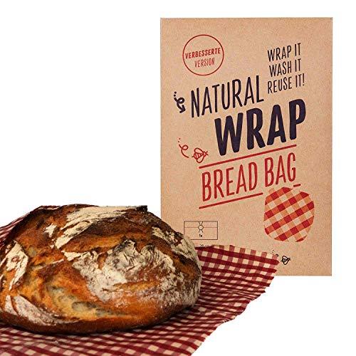 Media Chain Natural Wrap Brotbeutel XL - Nachhaltig Wiederverwendbar Ersatz Für Plastiktüte Alufolie Brotkasten Brottasche Brot Transport XL 28 x 43 cm