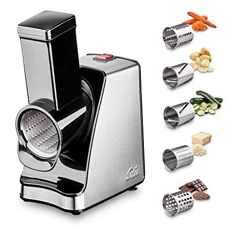 Solis Slice & More 8401 Gemüseschneider Elektrisch mit 5 Schneidetrommeln - Food Processor - Schneiden/Reiben/Raspeln/Mahlen - 350 Watt - Edelstahl/Kunststoff