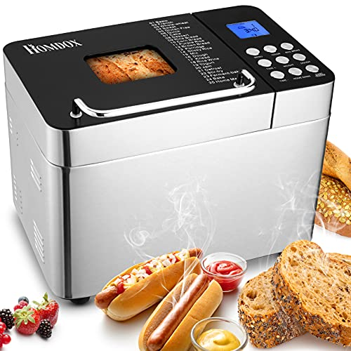 Amazon begrenzt】Brotbackautomat ,Edelstahl,600 W,,mit 25 Backprogramme, ,3 Brotgrößen (500 g / 750 g/100 g) ,3 Backfarben , Sichtfenster,Timer und Warmhaltefunktion.BPA-frei,GS Geprüfte Sicherheit
