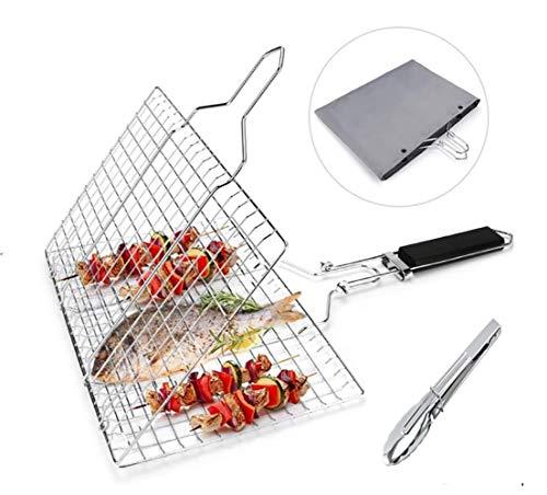 Grsafety2019 Gegrillten Fisch Edelstahl 430, klappbarer Grillrost für gebratenes Fischgemüse Garnelensteak, mit 1 Küchenzange und Aufbewahrungstasche, 32 x 22 cm